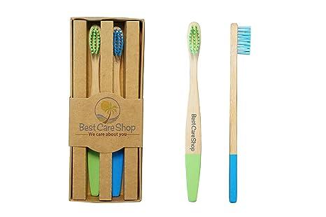 Bambú Cepillos de Dientes bestcare Shop – Natural – Vegan – 2 Unidades – Cantidad de