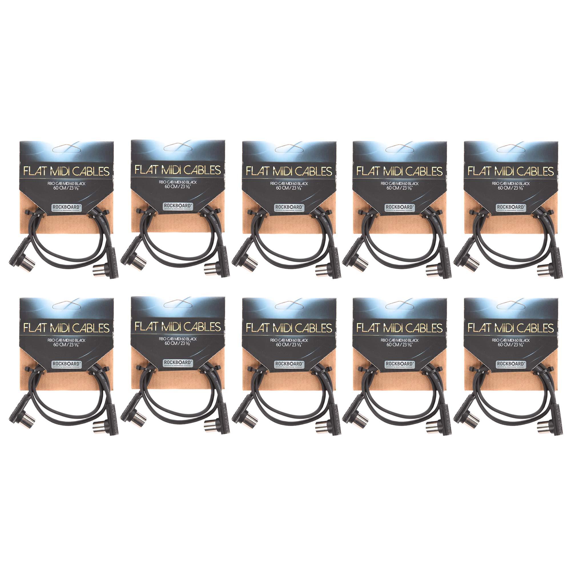 Rockgear Midi Cable, 60cm / 23.62'' Black 10 Pack Bundle