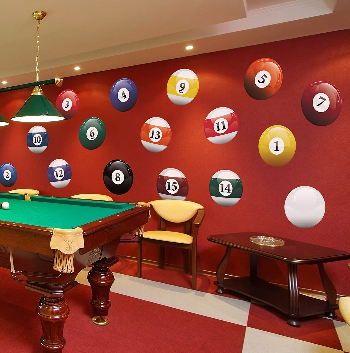 Amazon Com 16 Realistic Color Billiard Balls Wall Decal Sticker Game Room Sign Decor 15in X 15in Size 6089 Easy To Apply Removable Arts Crafts Sewing