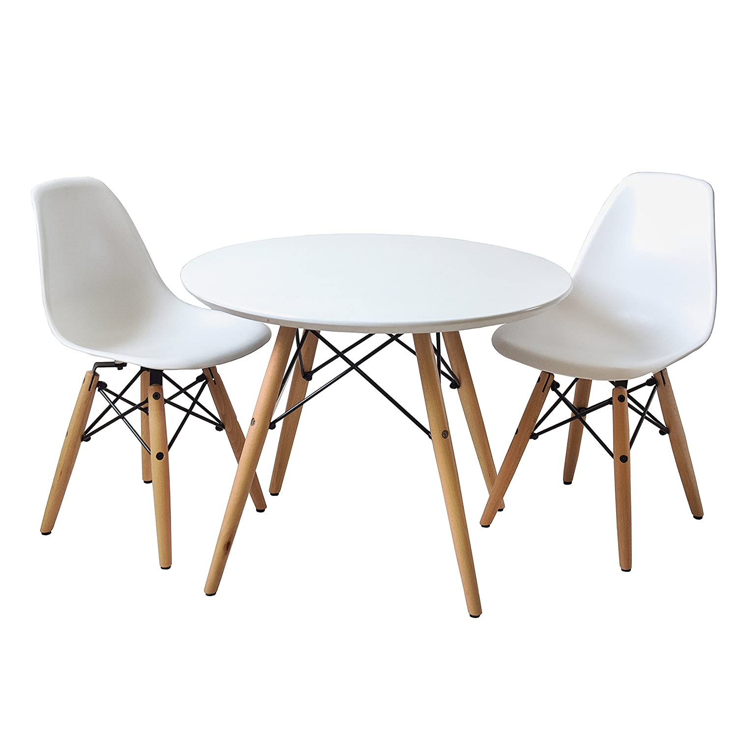 Amazon.com - Buschman Set of Table and 2 White Kids Eames Style ...