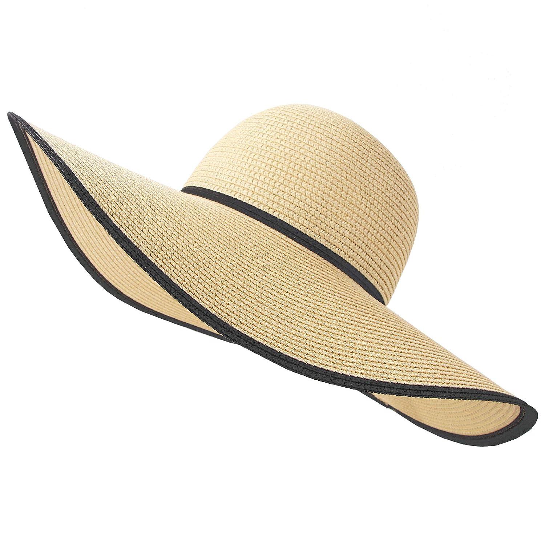 6df62efa7 RIONA Women Wide Brim Straw Hat Floppy Foldable Roll up Hat Beach Sun Hat  Summer UPF 50+