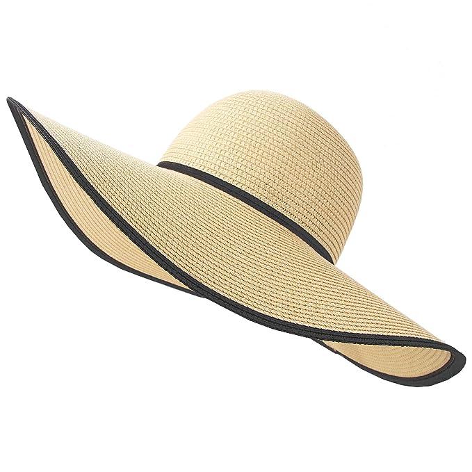 bd8bda15 RIONA Women Wide Brim Straw Hat Floppy Foldable Roll up Hat Beach Sun Hat  Summer UPF