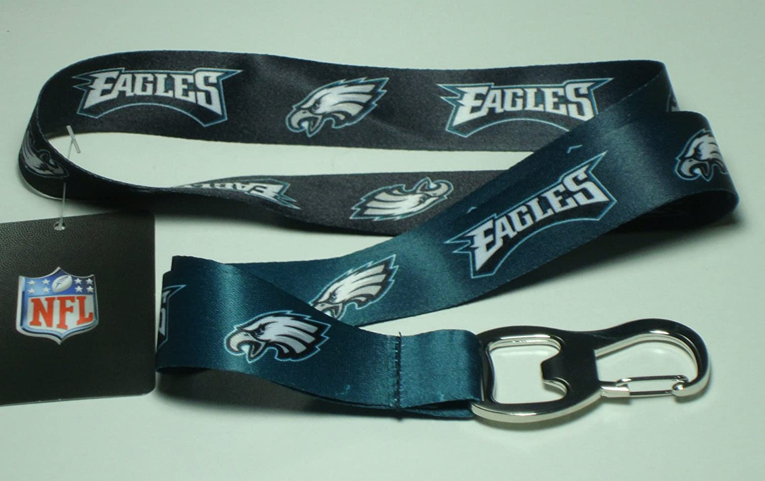 NFL Team Ombre Lanyard with Carabineer Style Bottle Opener and Soft Polyester Strap