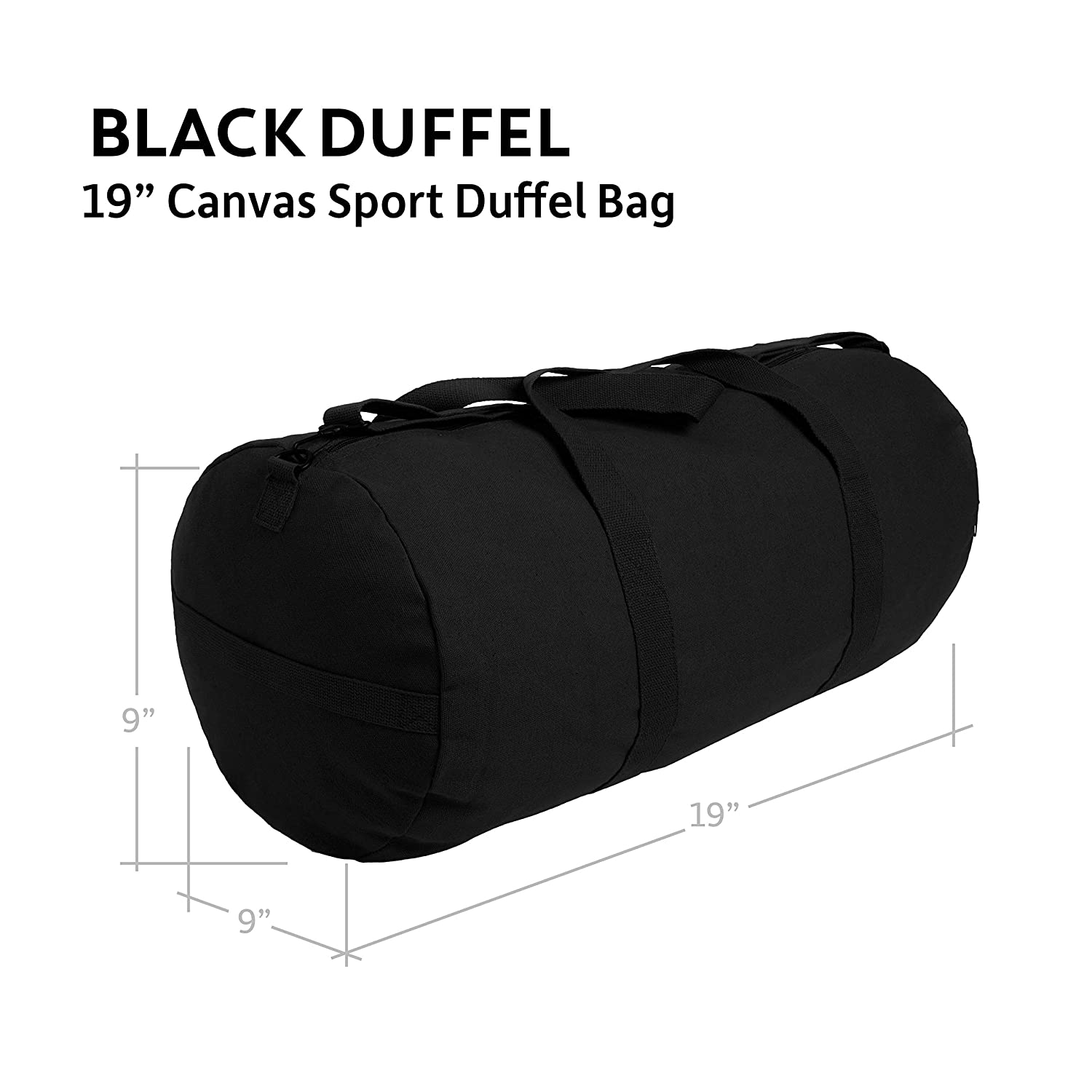 Jeep An American Tredition Army Sport Heavyweight Canvas Duffel Bag in Black White, Large