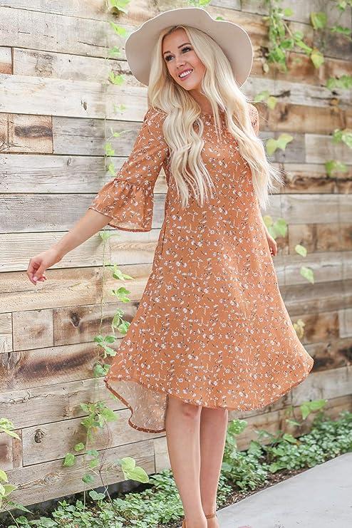 f3ba05ccd4d49 Mikarose Women's Kenna Modest Keyhole Shirttail Hem Shift Dress at Amazon  Women's Clothing store: