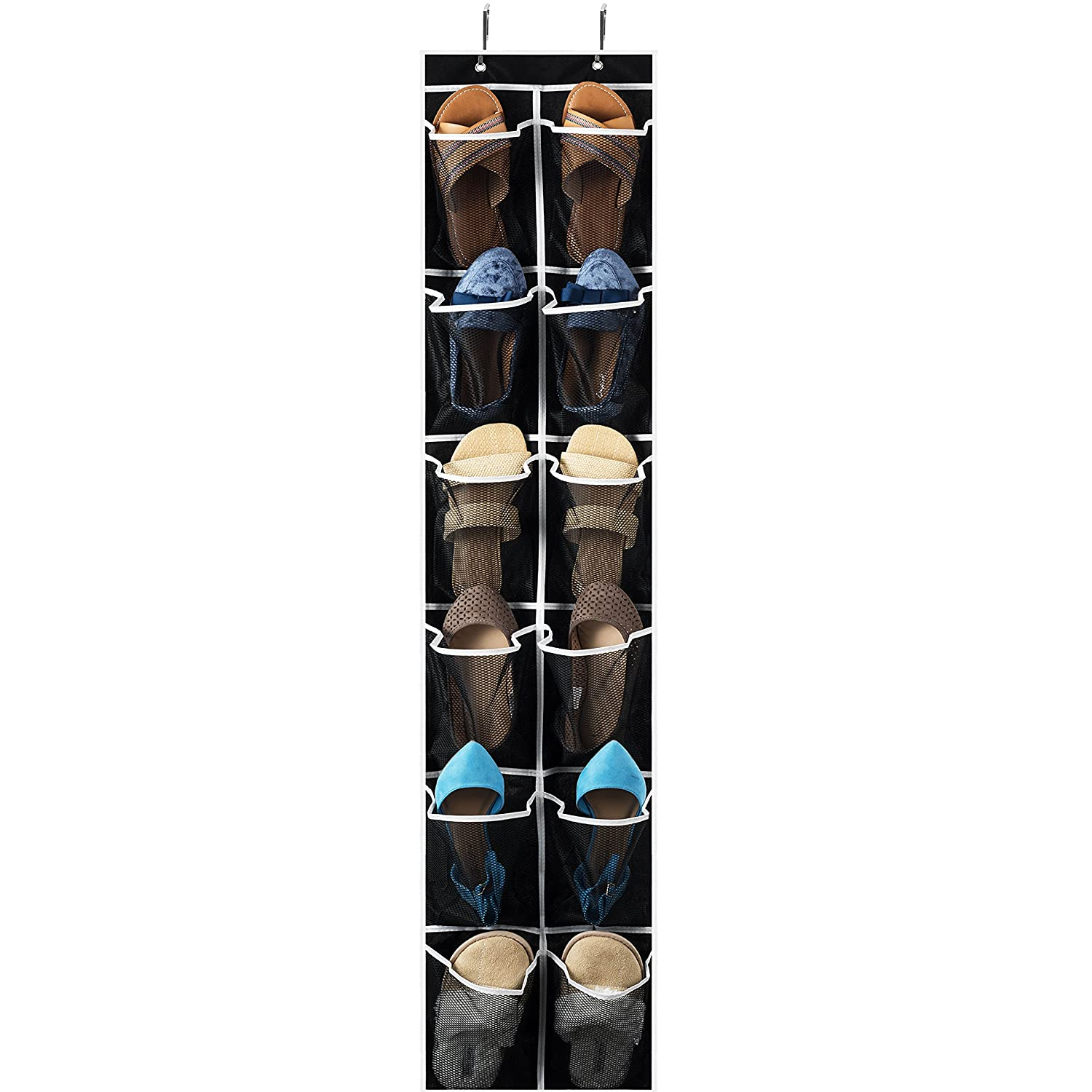 "Zober Over the Door Shoe Organizer - 12 Mesh Pockets, Space Saving Hanging Shoe Holder for Maximizing Shoe Storage, Accessories, Toiletries, Etc. No Assembly Required, Organizer for Shoes 571/2"" x 12"" ZO-NW401"