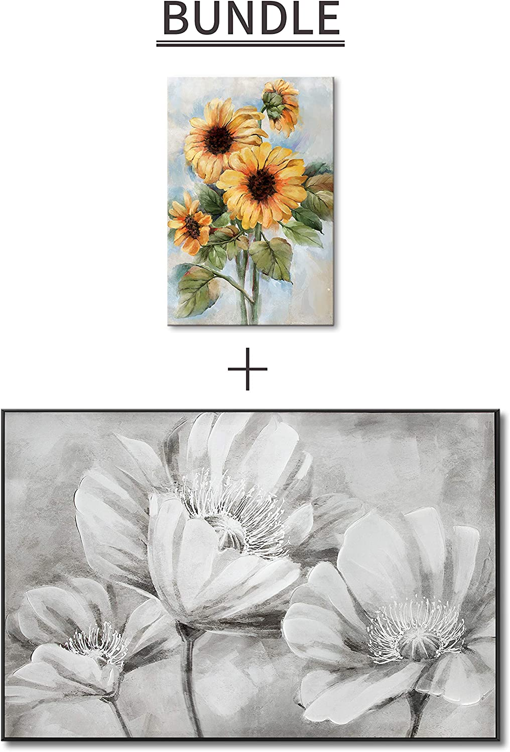 Wall Decor Lamplig Flowers Oil Paintings On Canvas Large Floral Framed Wall Art Black And White Hand Painted Pictures Gray Poppies Prints Modern Artwork Home Decor For Living Room Bedroom Office 48x32