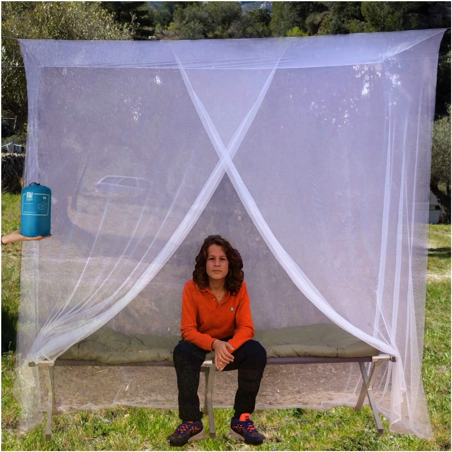 Hanging Kit Large Tent Double to King Size Storage Bag Easy to Install Camping Screen House Finest Holes Mesh 380 2 Entries Square Netting Curtain EVEN Naturals MOSQUITO NET for Bed Canopy