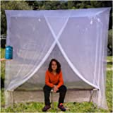 EVEN Naturals Luxury Mosquito Net for Bed Canopy, Tent for Single to Twin XL, Camping Screen House, Finest Holes Mesh 300, Square Netting Curtain for Bunk Bed, Easy Installation, Storage Bag