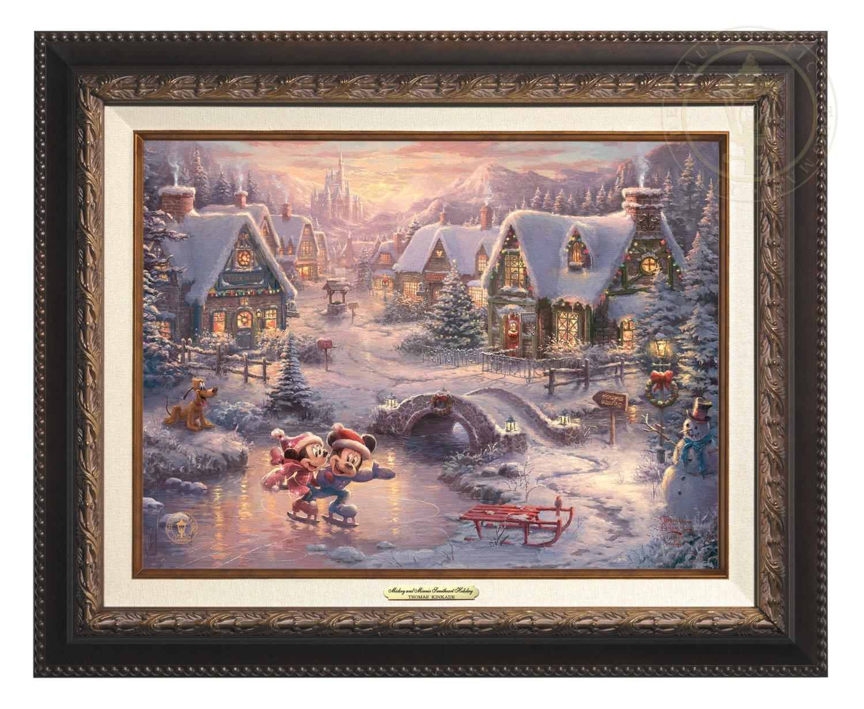 Thomas Kinkade Disney Mickey and Minnie Sweetheart Holiday 9'' x 12'' Canvas Classic (Aged Bronze)
