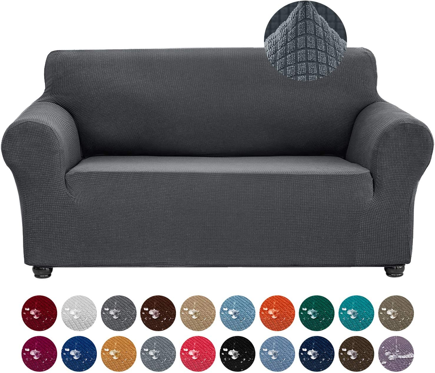 Joccun Stretch Loveseat Couch Cover Slipcover, 1-Piece Water Repellent Sofa Cover for 2 Cushion Couch Spandex Jacquard Washable Furniture Protector Cover for Living Room,Kids,Pets(Loveseat,Gray)