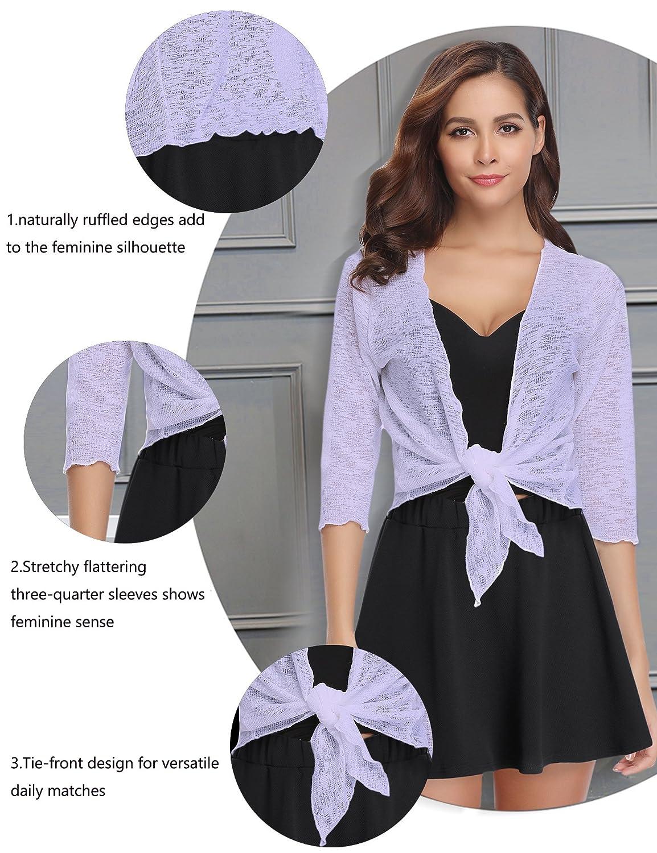 Abollria Womens 3//4 Sleeve Sheer Shrug Tie Front Cropped Bolero Cardigan