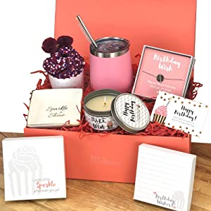 Happy Birthday Box for Women | 5 Premium Special & Unique Gifts for Mom Daughter Sister Best Friend Wife | Surprise Package for Her Filled with Fun Gift Ideas