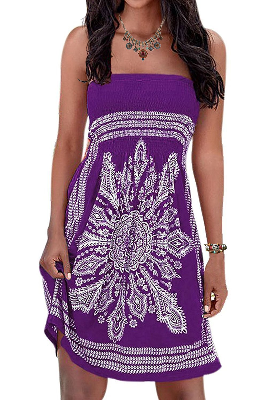 Initial Plus Size Beach Dress Strapless Women's Summer Dress Floral Print Bohemian Cover-up Dress Purple 2XL