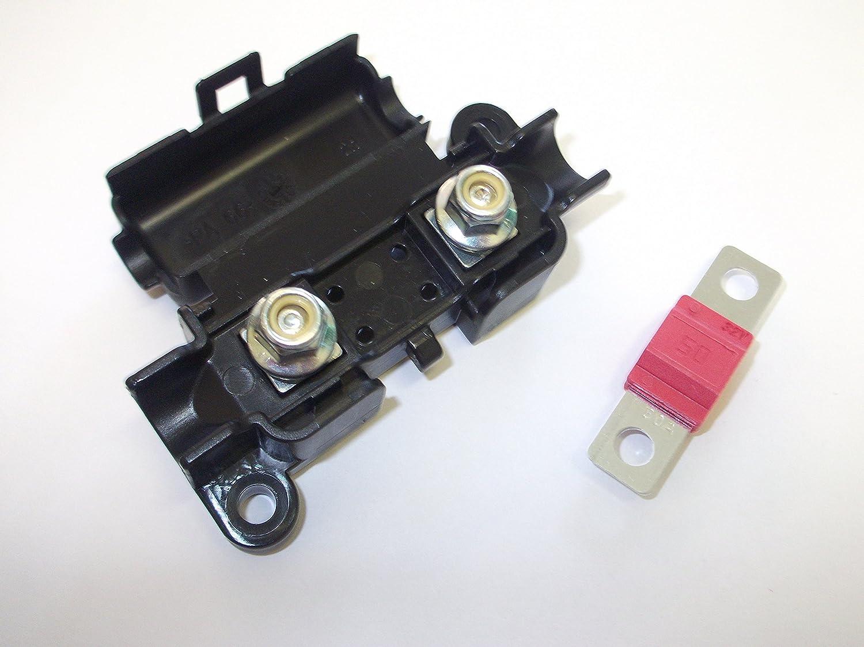 Innovo MIDI Portafusibile con fusibile 50 Amp rosso clip coperchio auto Van camion marine