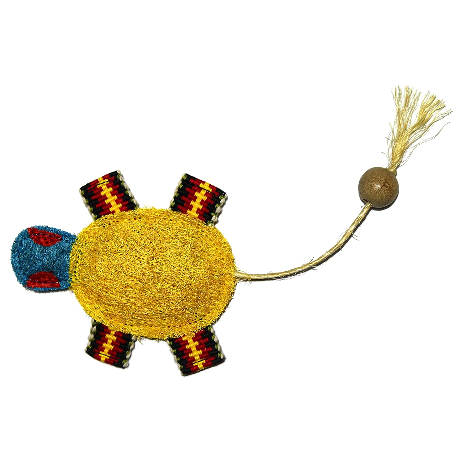Eco-Loofah Ethnic Maka Tenuki Hip Turtle Cat Toy, Yellow