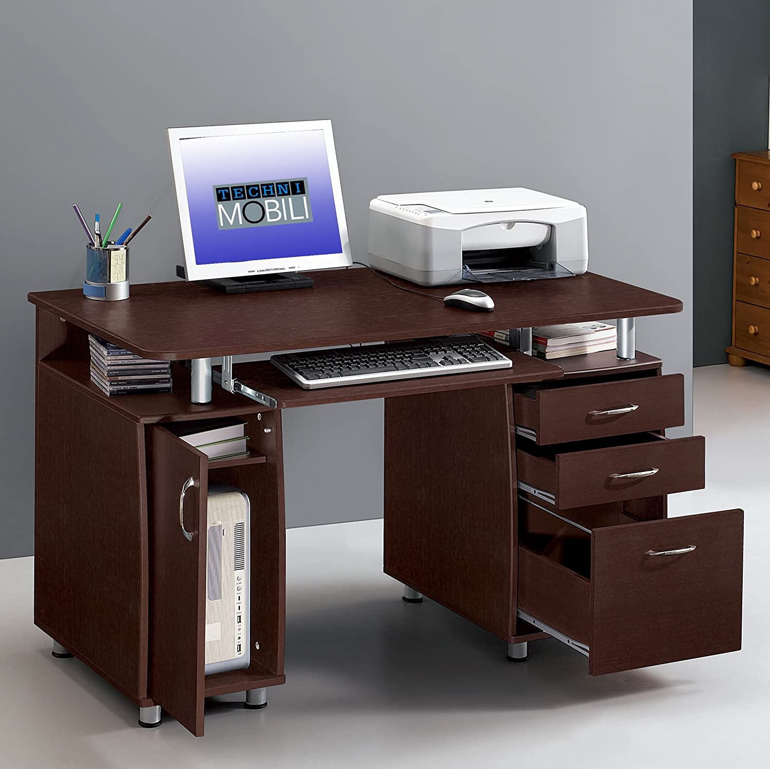 mobili computer luxury attachment drawers puter techni desk of should choose with