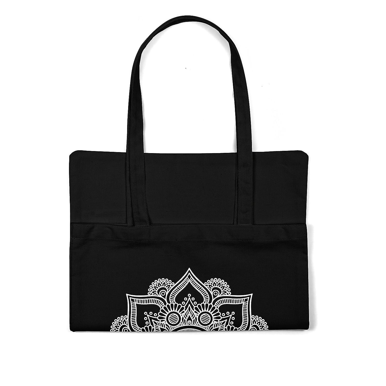 7de00ed77 LaMAGLIERIA Bolsa de Tela Mandala White Print Man01 - Tote Bag Shopping Bag  100% Algodón Ampliar imagen