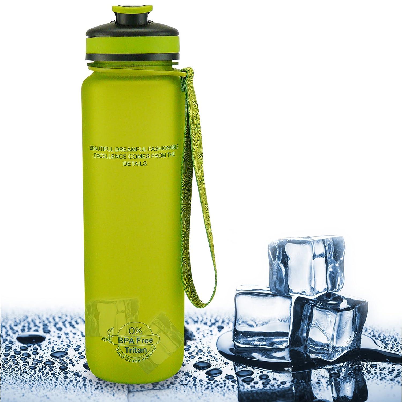 SMARDY Tritan Botella de Agua para Beber Verde - 1000ml - de plástico sin BPA - Tapa de un Clic - fácil de Abrir - ecológica - Reutilizable