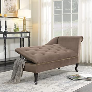 Amazon Com Belleze Velveteen Tufted Open Fold Spa Chaise Lounge Chair Couch Cushion For Living Room Nailhead Trim With Storage Brown Furniture Decor