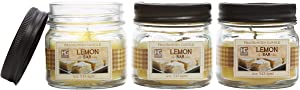 Hosley's Set of 3, 4 oz. Lemon Bar Fragrance Farm House Hand Poured Candles Infused with Essential Oils Jar Candles