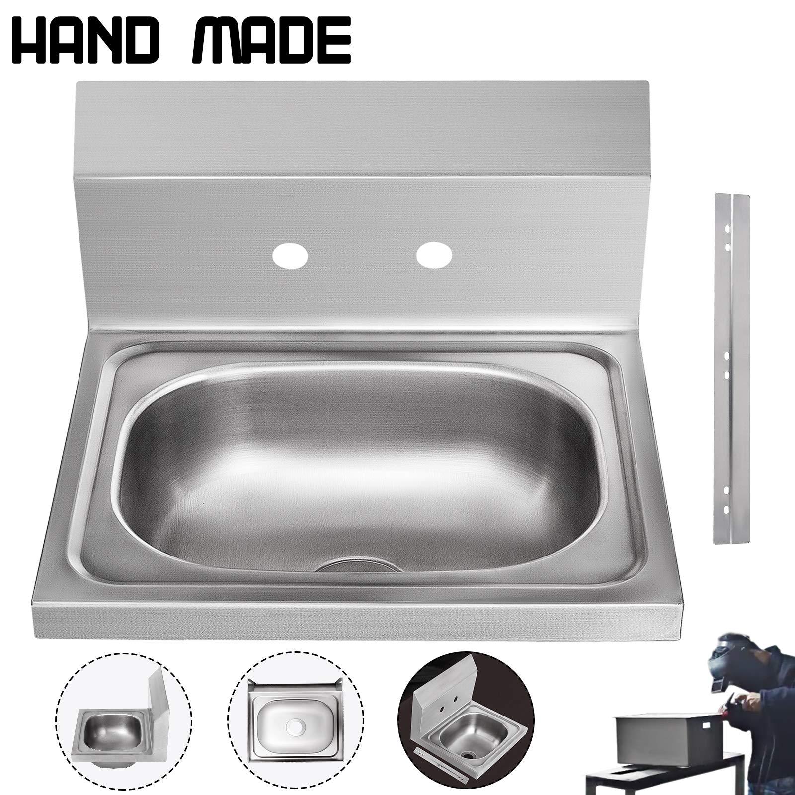 VEVOR Stainless Steel Sink with Backsplash Undermount Bowl Kitchen Sink Hand made Wall Mount Hand Washing Basin