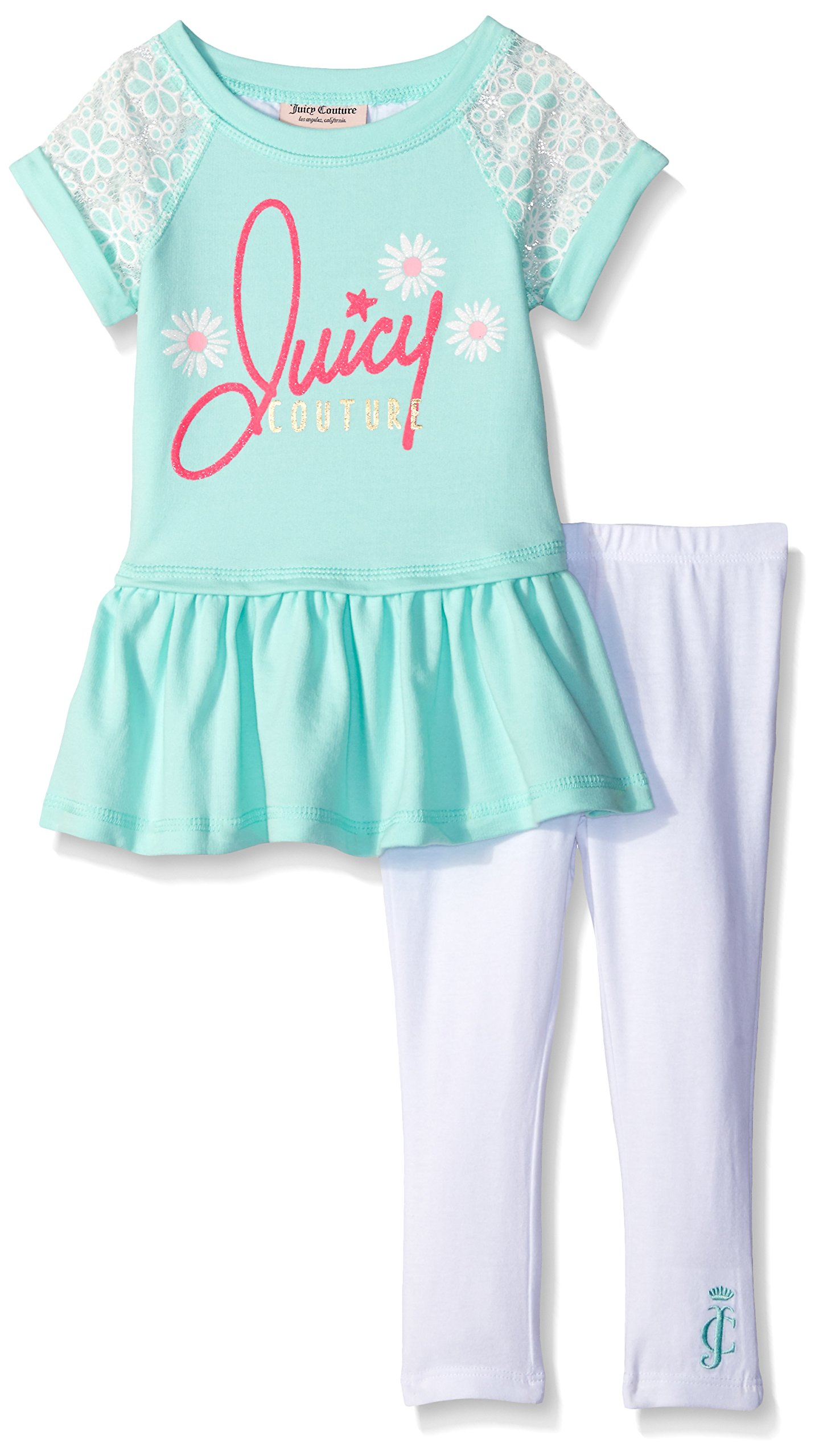 Juicy Couture Big Girls' French Terry Top with Lace and Stretch Jersey Pants, Sea Glass, 4