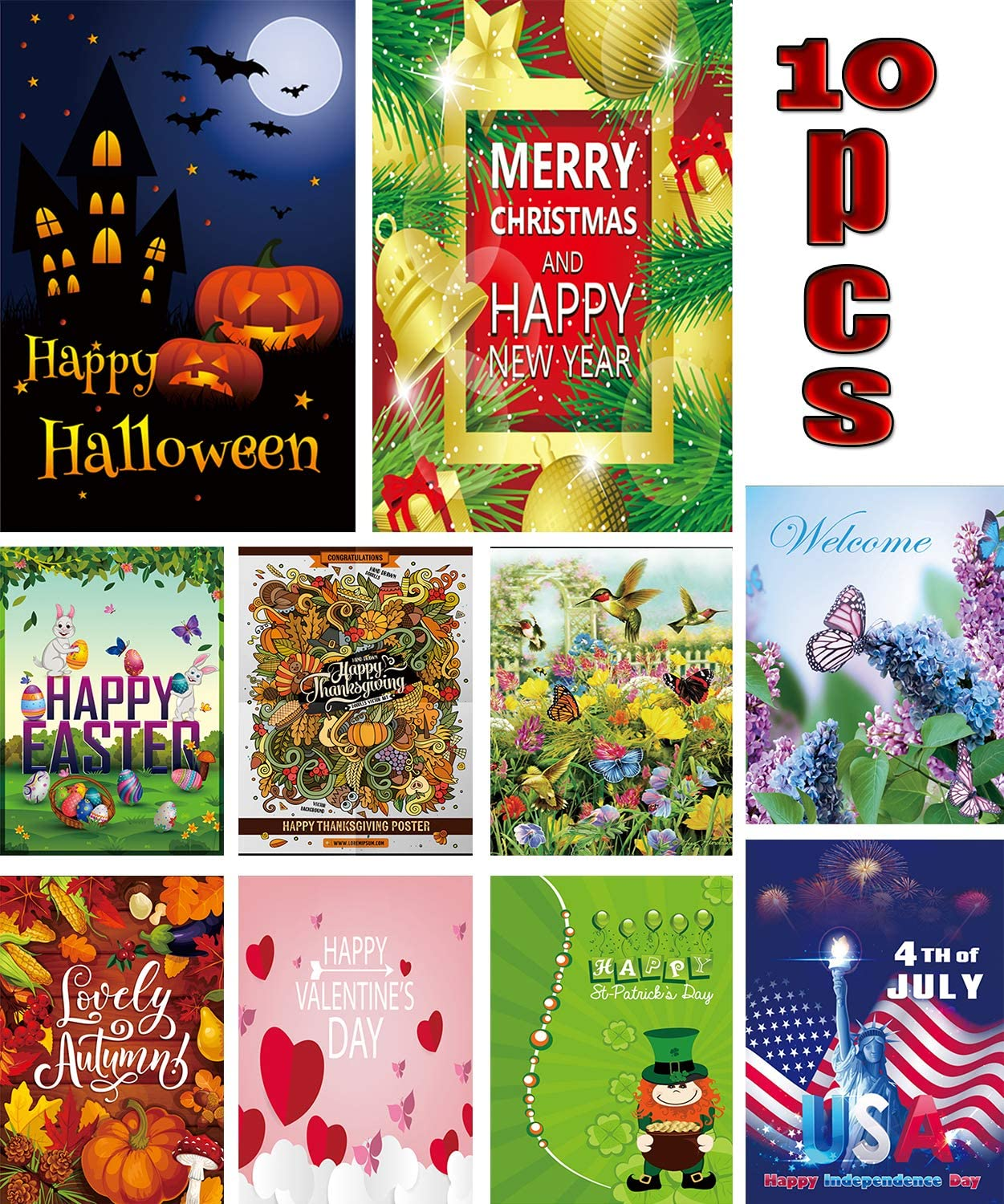 Season Garden Flags - Set of 10 Garden Flags -Double Sided Outdoor 12x18 Inch Small Holiday Yard Flags - Double Sided Colorful Design for All Seasons and Holidays - Premium Quality Durable Material