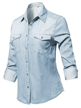 16d3a3e6c79 Casual Adjustable Roll Up Sleeves Button Down Tight Fit Denim Shirt Light  Blue S