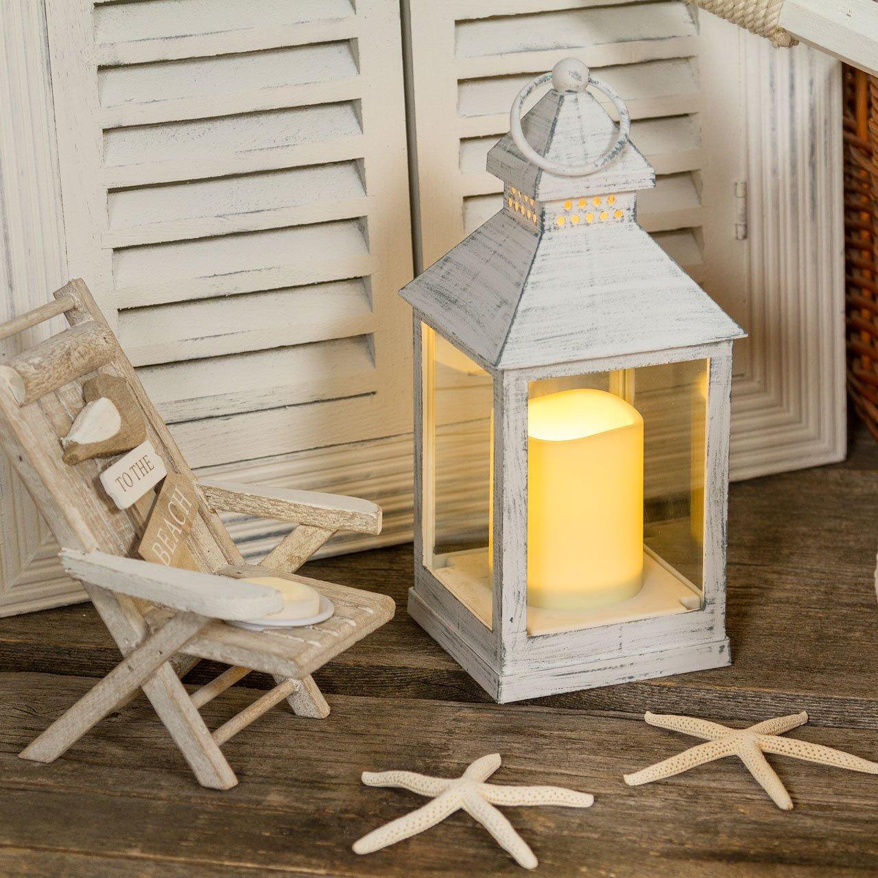 2 x Lanterna quadrata vetro bianco antico con candela, h 24 cm ...