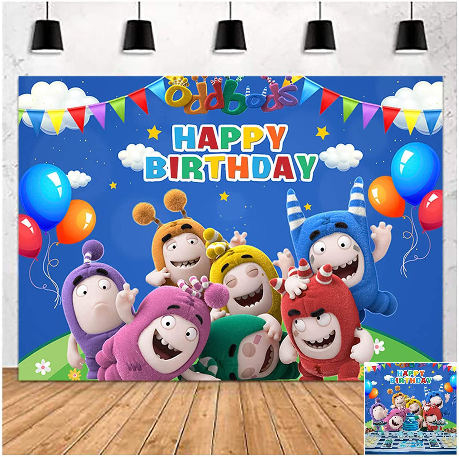 Cartoon Blue Sky and White Clouds Oddbods Happy Birthday Photography Backdrop 5x3ft Children Boys or Girl Birthday Photo Background Newborn Baby Shower Kids Party Banner Cake Table Decor Props Vinyl