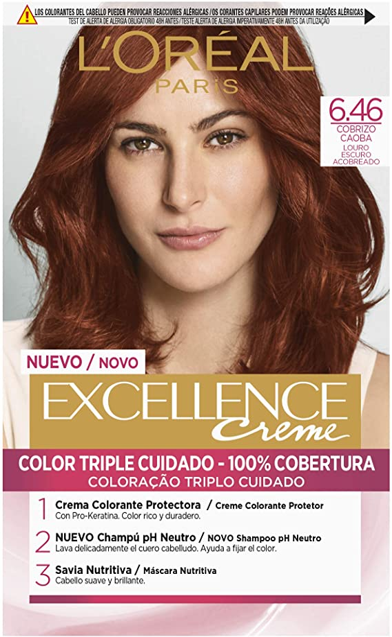 LOréal Paris Excellence Creme Tinte Tono 6.46 Rubio Oscuro Cobrizo Caoba - 50 ml