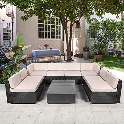U-MAX 10 Pieces Patio PE Rattan Wicker Sofa Set Outdoor Sectional Furniture Conversation Chair Set with Cushions and Tea Table Black