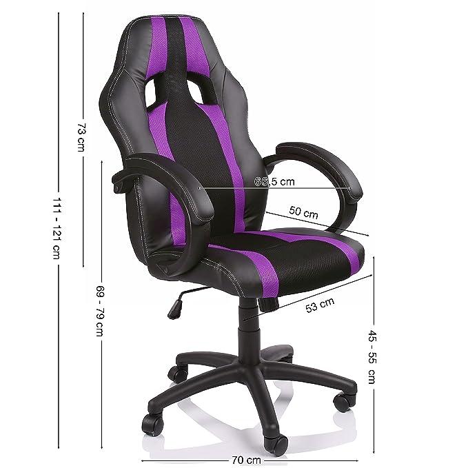 TRESKO Silla giratoria de oficina Sill/ón de escritorio Racing disponible en 14 colores bicolor cilindro neum/ático certificado por SGS Negro//Amarillo silla Gaming ergon/ómica