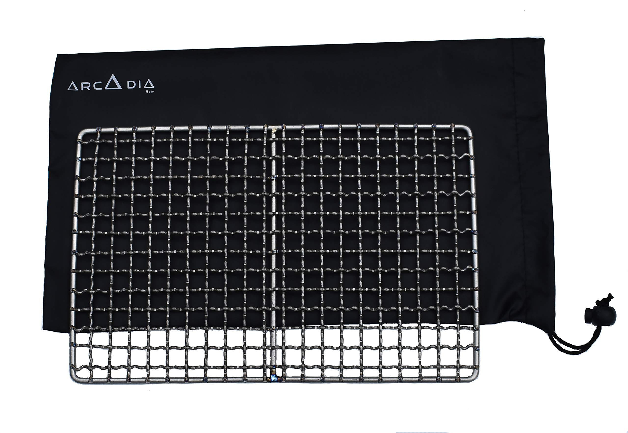 Arcadia Gear | The Woodsman Titanium Grill | The Original Ultralight Titanium Bushcraft Grill and Pouch | Designed for When Your Life Depends On It by Arcadia Gear