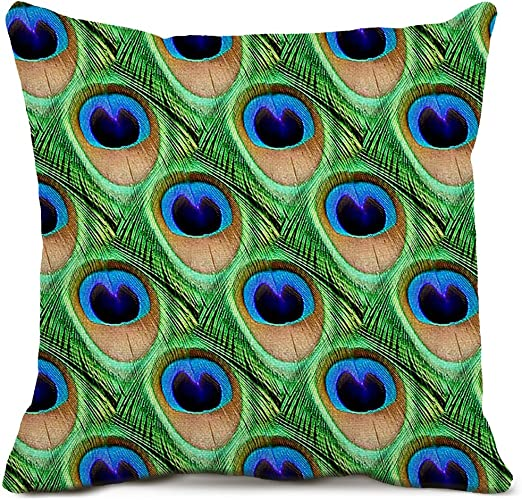 Home Pillowcase Peacock Feather Throw Cushion Covers Pillow Case Bedroom Decor