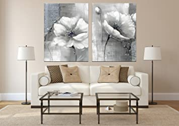 YIMEI Modern Artwork Giclee Canvas Prints White And Grey Flowers Pictures Paintings On Wall Art