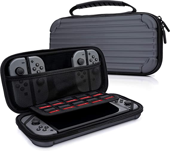 MyGadget Funda para Nintendo Switch - Estuche de Viaje Rígido Duro - Maletín Resistente con Bolsillos Para Accesorios, Juegos y Console - Gris: Amazon.es: Videojuegos
