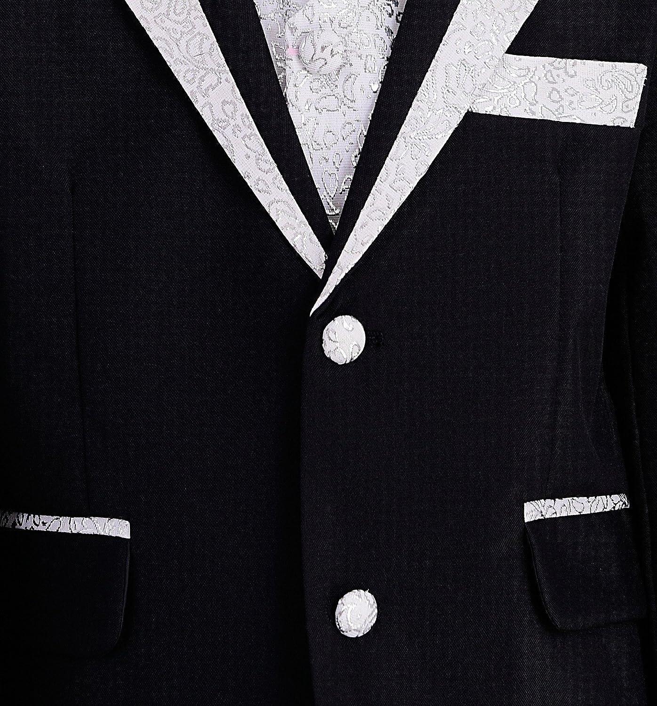 YUFAN Boys Black//White 5 Pieces Formal Tuxedo Suits Jacket Vest Pants Shirt Bow Tie