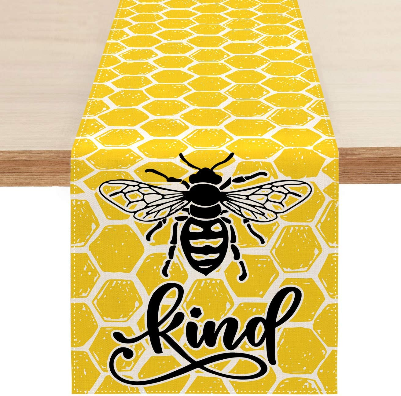 Sambosk Spring Bee Kind Table Runner, Yellow Table Runners for Kitchen Dining Coffee or Indoor and Outdoor Home Parties Decor 13 x 72 Inches