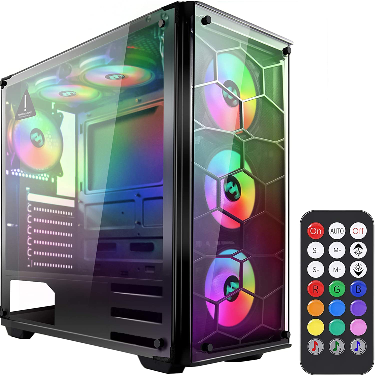 MUSETEX Phantom Black ATX Mid-Tower Desktop Computer Gaming Case USB 3.0 Ports Tempered Glass Windows with 6pcs 120mm Voice Control LED RGB Fans Pre-Installed, Remote Control(907)