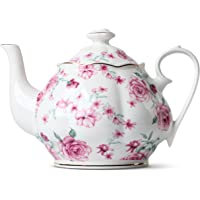 BTäT- Tea Pot, Teapot, Porcelain Teapot, 38 oz, Floral Teapot, Bone China Teapot for Tea Set, Ceramic Tea Kettle, Tea…