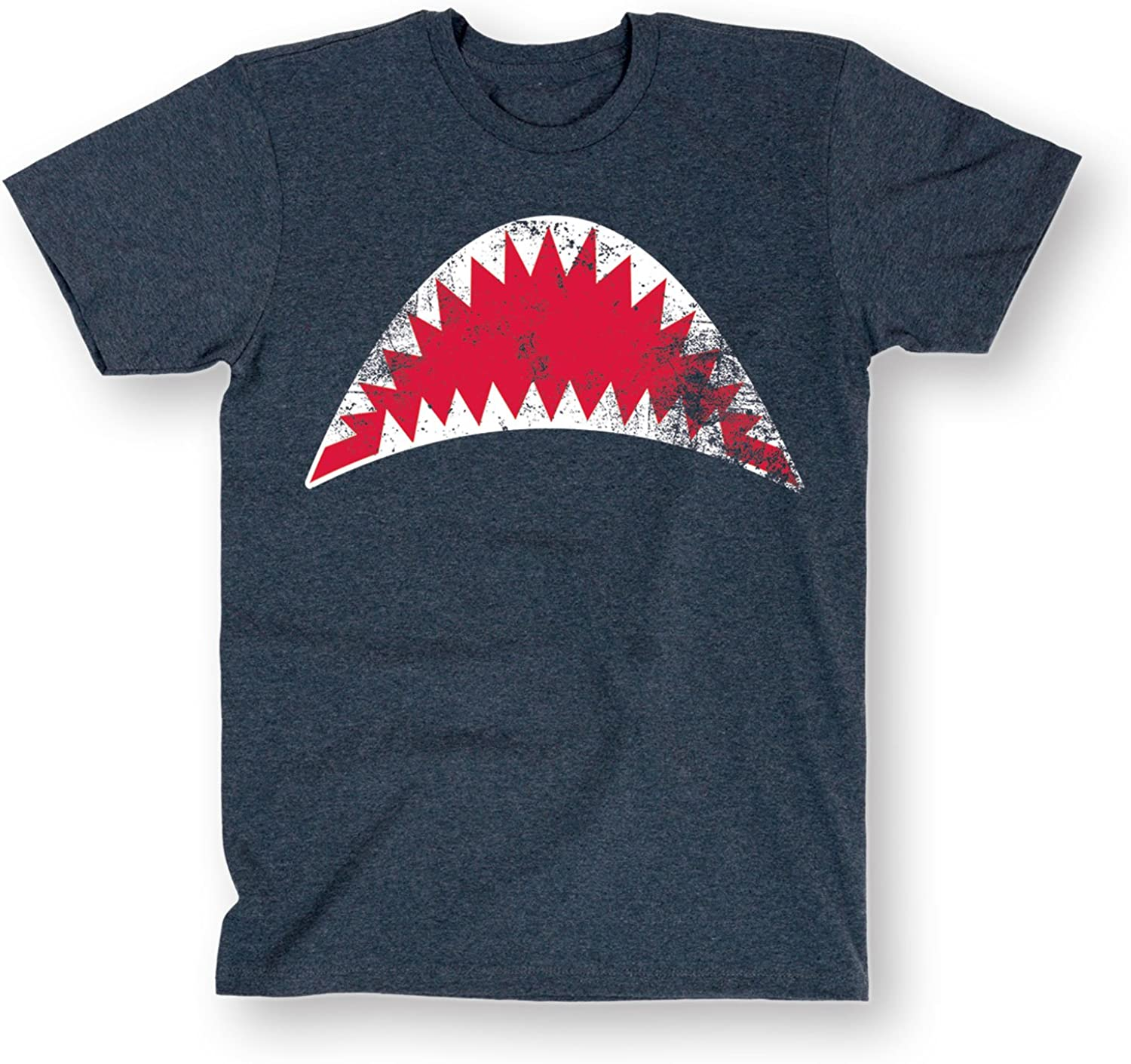 Blue Open Mouth Shark Jaws Mens T-Shirt-Shark Teeth Short Sleeve Tee
