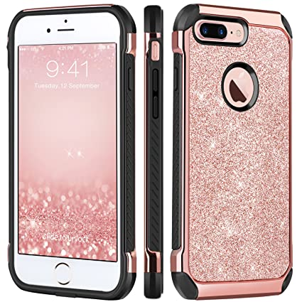 Iphone 7 Plus Case Bentoben Glitter Bling Sparkly Hybrid Slim Hard Cover Laminated With Luxury Shiny Faux Leather Shockproof Soft Bumper Protective