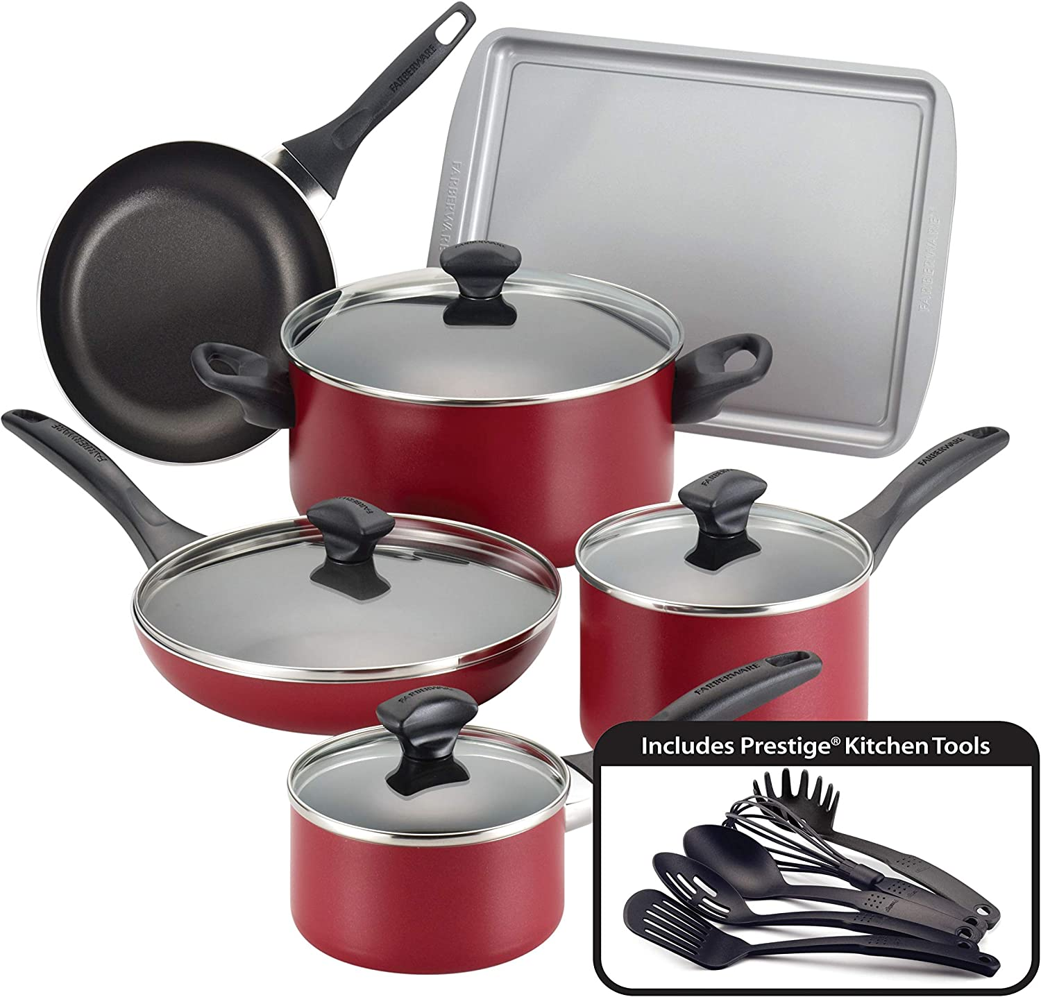 Faberware Red FARBERWARE Dishwasher Safe NONSTICK 11pce cookware, Tools and bakware Set