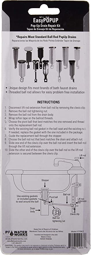 Details about  /PF Water Works Pop-Up Repair Kit Chrome PF0907