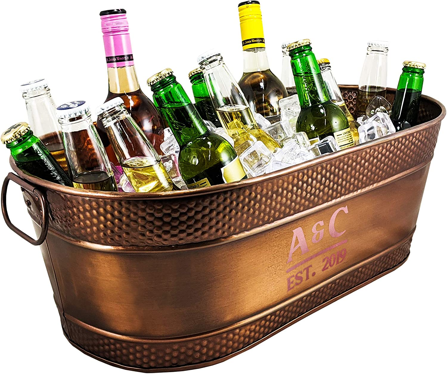 BREKX Personalized Colt Hammered Copper-Finish Galvanized Beverage Tub, Rust-Resistant and Leak-Proof Ice and Drink Bucket with Handles, 15 Quarts