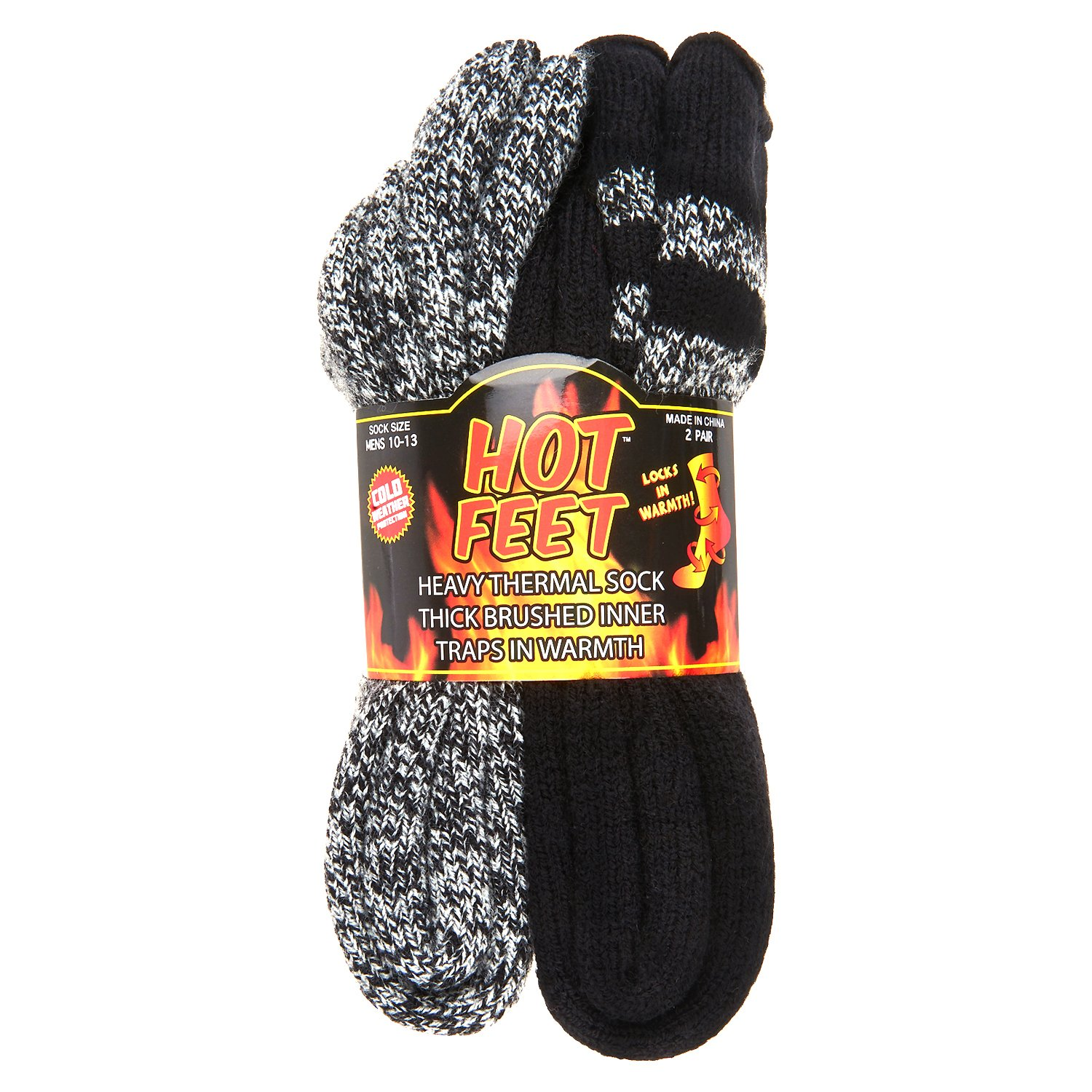 Hot Feet Men's 2 Pairs Heavy Thermal Socks - Thick Insulated Crew for Cold Weather; Size: 6-12.5 10-13