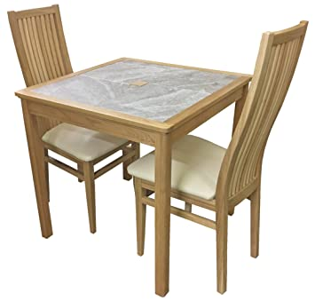 Anbercraft Beaumont Range Grey Tile Top Small Dining Table Set With