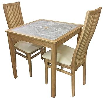 AnBerCraft Produktreihe Beaumont Grau Fliesen Top Kleiner Esstisch Set Mit  2 Stühlen Cambridge, Holz,